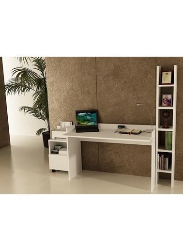 Sanal Mobilya Sirius Dolaplı Kitaplıklı Çalışma Masası 120-Gk-2A Beyaz